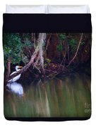 Great White Heron At Waters Edge Duvet Cover