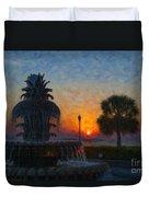Pineapple Fountain At Dawn Duvet Cover