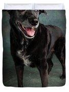 Portrait Of A Labrador Golden Mixed Dog Duvet Cover