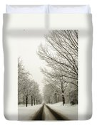 Snow Covered Road And Trees After Winter Storm Duvet Cover