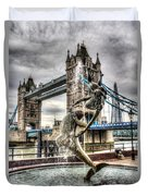 Tower Bridge And The Girl And Dolphin Statue Duvet Cover