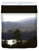 Trees On The Shore Of A Loch And Hills In The Scottish Highlands Duvet Cover