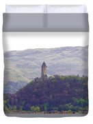 View Of Wallace Monument From The Heights Of The Stirling Castle Duvet Cover