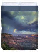 749220049 Double Rainbow Cape Royal North Rim Grand Canyon National Park Duvet Cover
