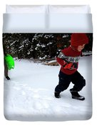 A Young Boy And Mother Sledding Duvet Cover
