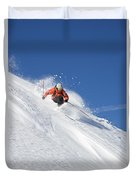 A Young Man Skis Untracked Powder Duvet Cover