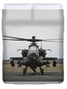 Ah-64 Apache Helicopter On The Runway Duvet Cover
