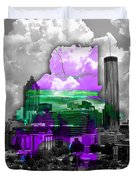 Atlanta Map And Skyline Watercolor Duvet Cover