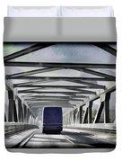 Blue Citylink Bus On A Metal Bridge In Scotland Duvet Cover