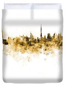 Dubai Skyline In Watercolour On White Background Duvet Cover