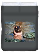 Hippopotamus In River. Serengeti. Tanzania Duvet Cover