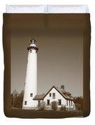 Lighthouse - Presque Isle Michigan Duvet Cover