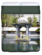 Premises Of The Hindu Temple At Mattan With A Water Pond Duvet Cover