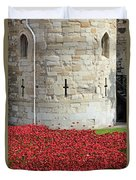 Remembrance Poppies At The Tower Of London Duvet Cover