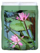 Pink Water Lily Pond Duvet Cover