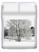 A Wintery View Along Conifer Drive In Burnt Hills Duvet Cover