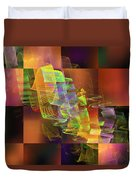 Abstract Checkered Pattern Fractal Flame Duvet Cover