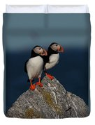 Atlantic Puffins Fratercula Arctica Duvet Cover