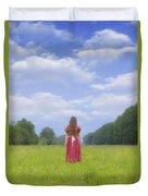 Girl On Meadow Duvet Cover by Joana Kruse
