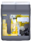 Busy Busy - Grey And Yellow Abstract Art Painting Duvet Cover
