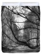 9 Black And White Artistic Painterly Icy Entrance Blocked By Braches Duvet Cover