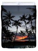 Silhouette Of Palm Trees At Dusk Duvet Cover