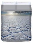 sunrise at Salar de Uyuni worlds largest salt lake Bolivia Duvet Cover