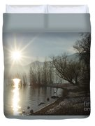 Sunshine Over An Alpine Lake Duvet Cover