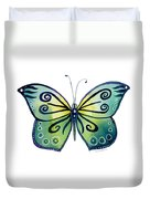 92 Teal Button Cap Butterfly Duvet Cover by Amy Kirkpatrick