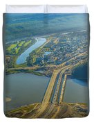 Fort Mcmurray From The Sky Duvet Cover