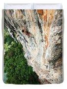 A Athletic Man Rock Climbing High Duvet Cover