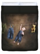A Baby On The Clothesline Duvet Cover