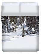 A Backcountry Skier A Turn Near Ymir Duvet Cover