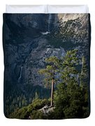 A Backpacker Hikes Down A Trail Duvet Cover