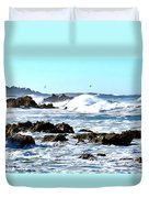 Seascape And Sea Gulls Duvet Cover