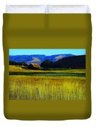 A Barn And Field In The Morning Duvet Cover