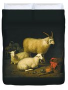 A Barn Interior With A Four-horned Ram And Four Ewes And A Goat Duvet Cover