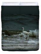 A Beautiful Snowy White Egret On Hilton Head Island Beach Duvet Cover
