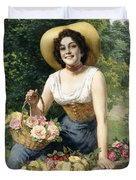 A Beauty Holding A Basket Of Roses Duvet Cover