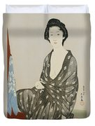 A Beauty In A Black Kimono Duvet Cover