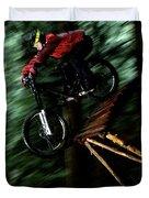 A Biker Rides His Mountain Bike Duvet Cover