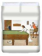 A Billiards Match Duvet Cover
