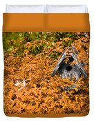 A Bird House Sits Empty In Fall Duvet Cover