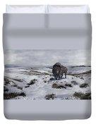 A Bison Latifrons In A Winter Landscape Duvet Cover by Roman Garcia Mora