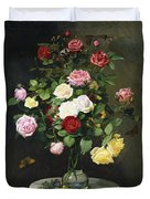 A Bouquet Of Roses In A Glass Vase By Wild Flowers On A Marble Table Duvet Cover