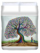 A Boy His Dog And Rainbow Tree Dreams Duvet Cover