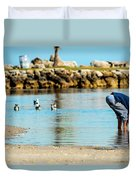 A Boy Searches The Water At Matheson Duvet Cover