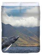 A Breaching Humpback Whale  Megaptera Duvet Cover