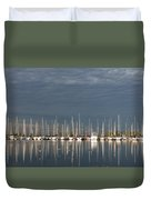A Break In The Clouds - White Yachts Gray Sky Duvet Cover