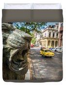 A Bronze Lion Guards Historic Buildings Duvet Cover